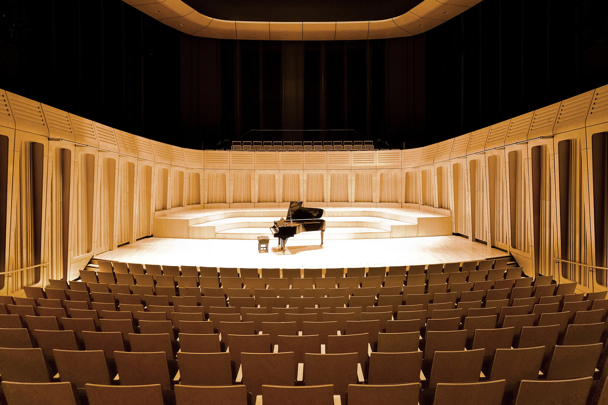Piano on stage of Dora Stoutzker Hall