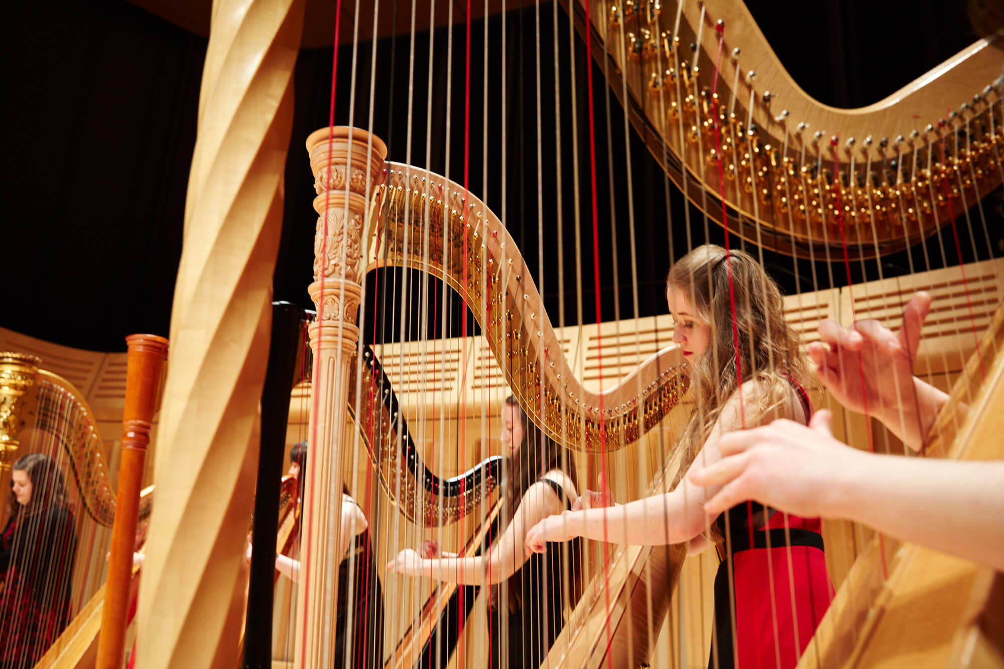 Close-up of harpists on stage of Dora Stoutzker Hall