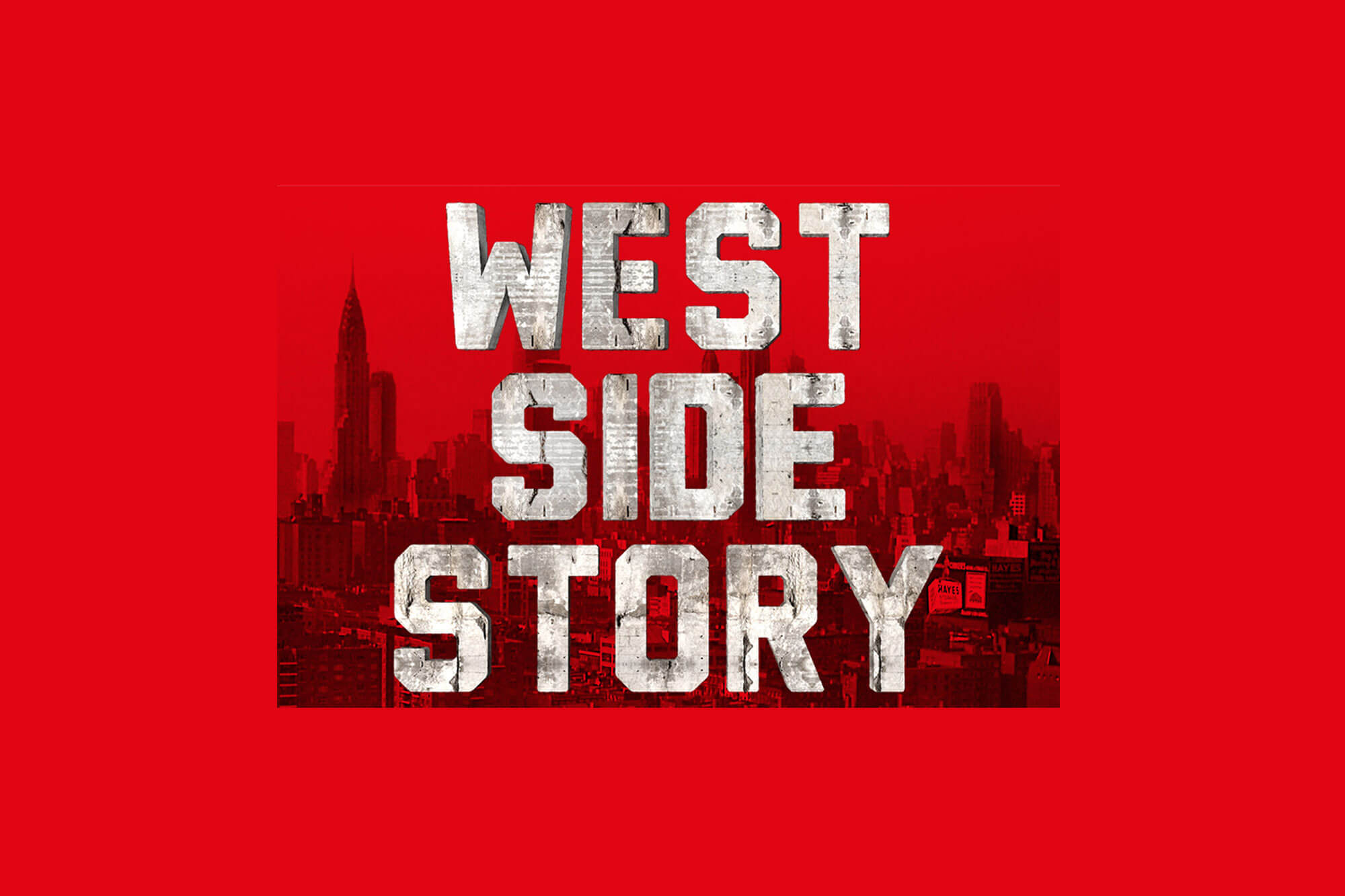 West Side Story title on red background